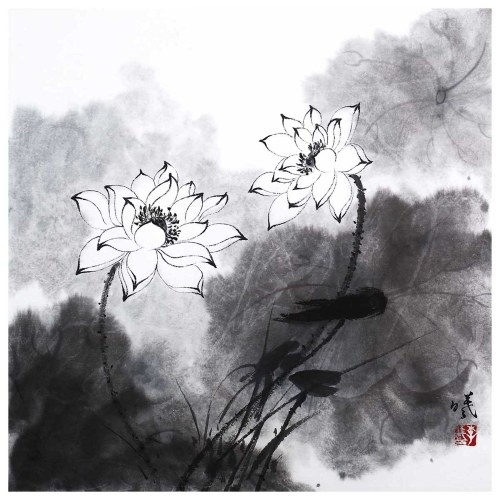 Tooarts Lotus in Breeze Chinese Painting Wall Art Artist Hand-Painted Chinese Brush Painting Traditional Decoration Home Office Decoration Painting Carefully Packed