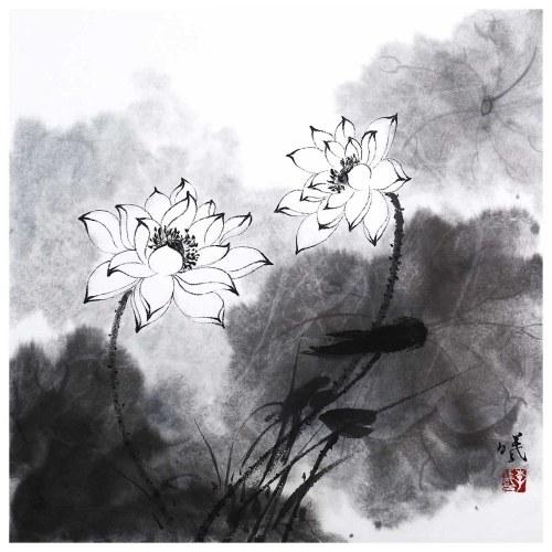 Tooarts Lotus in Breeze Chinesische Malerei Wandkunst Künstler Handgemalte chinesische Pinsel Malerei Traditionelle Dekoration Home Office Dekoration Malerei Sorgfältig verpackt