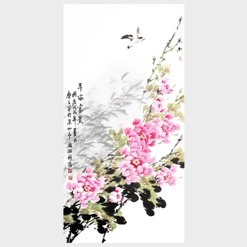 Flor de peonía Decoración de pared Decoración de arte Pintura tradicional china Sala de estar Dormitorio Arte Imagen Decoraciones