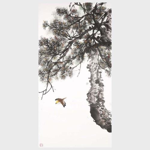 Arbre de pin paysage peinture Decor Art 100% fait à la main oeuvre originale pour la décoration chambre salon chambre mur