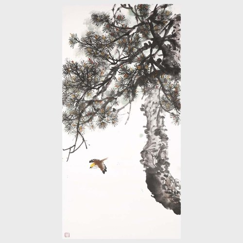 Pine Tree Landscape Painting Decor Art 100% Handmade Original Artwork for Living Room Bedroom Home Wall Decoration
