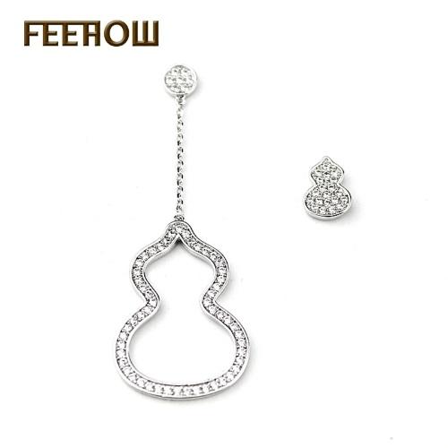 Kreative neue 925 Silber Nadel asymmetrische hissen lange Ohrringe