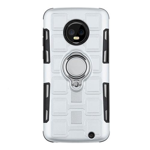 新しいnoto Motorola G4PLUS E4PLUS 2-in-1リングカーマグネットブラケット携帯電話ケースシルバーE5PLAY / EPLAY(AVersion USバージョン5.2)ユニバーサル