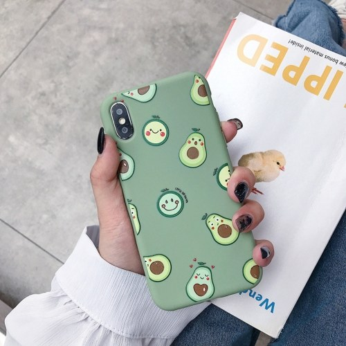 Matcha Green Phonecase Shockproof TPU Back Cover with Cute Avocado Design Full-Body Protective Anti-Slip Cell Phone Cover For Huawei/Oppo/Vivo/iphone (For-iphone xr)