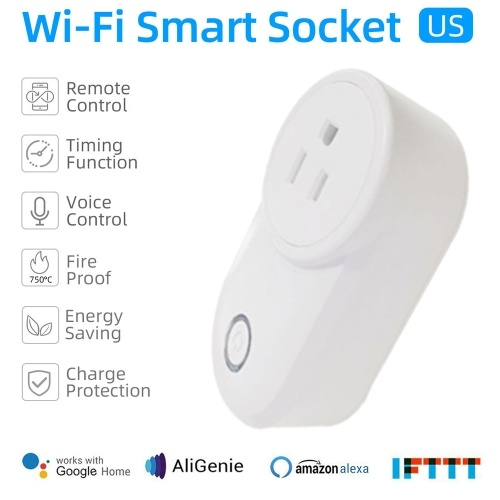 Tuya Mini Smart WiFi Socket US Remote Control by Smart Phone from Anywhere Timing Function, Voice Control for Amazon Alexa and for Google Home IFTTT