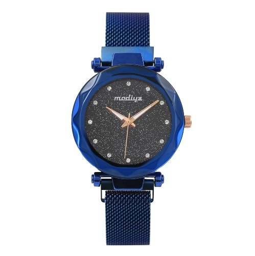 Diamond with Milan star watch female magnet magnet quartz watch net red vibrating the same watch wholesale Blue (plastic shell)