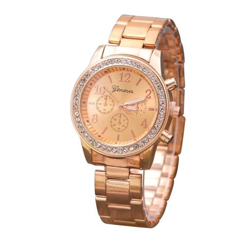 Modelli esplosione Ginevra in lega di diamanti a tre occhi orologio da donna Europa e America cintura in acciaio gioielli casual orologio all'ingrosso Rose