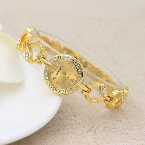 Moda punto diamante amore braccialetto in lega braccialetto cuore diamante orologio al quarzo commercio estero signore e donne orologio faccia d'oro all'ingrosso