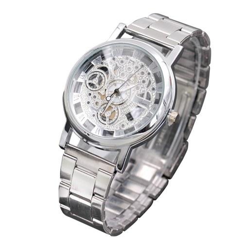 Orologi al quarzo vuoti da uomo di moda coreani da uomo orologi non meccanici produttori di orologi da regalo transfrontalieri all'ingrosso argento