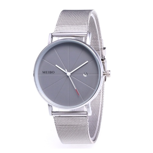 High-end Business Casual Elegant Quartz Watch Calendar Wristwatch with Knitted Strap Band