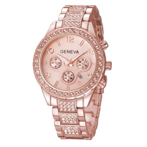 Squelette d'affaires de luxe femmes regarder la montre à la mode calendrier cristal montre-bracelet avec trois sous-cadrans bande de bracelet en acier inoxydable