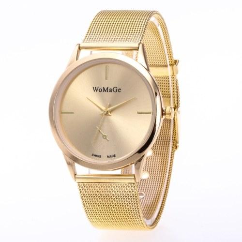 Einfache Unisex-Uhr modische Legierung Armbanduhr für Männer Frauen mit Webart gestrickt Armband