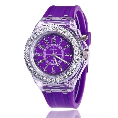 Foreign trade explosion models Geneva luminous watch fashion colorful LED flash watch silicone diamond diamond couple watch wholesale purple