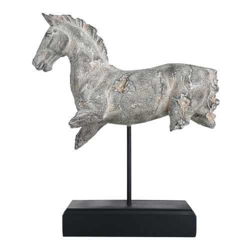 Tooarts Incomplete Horse Sculpture Imitate Stone Carving Resin Sculpture Vintage Crafts