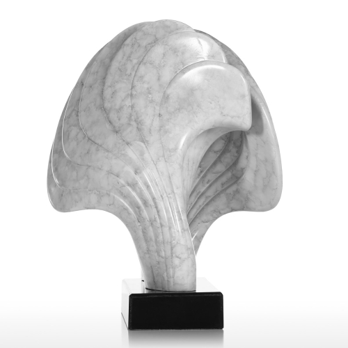 Shell with Marble Base Convolute Lines Marble Texture Feeling Surface Abstract Figurine Resin Home Decor