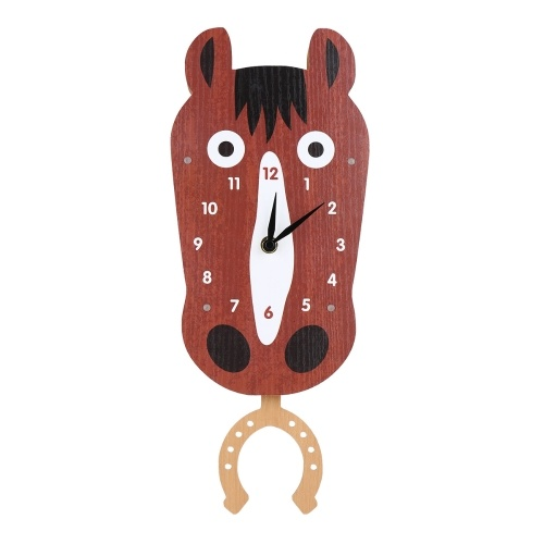 Tooarts Cartoon Animal Clock, Swinging Horse Head Clock, MDF Wooden Wall Clock, Clock for Kids Room Living Room, Home Decor, Easy to Install, One AA Battery Operated (not include)