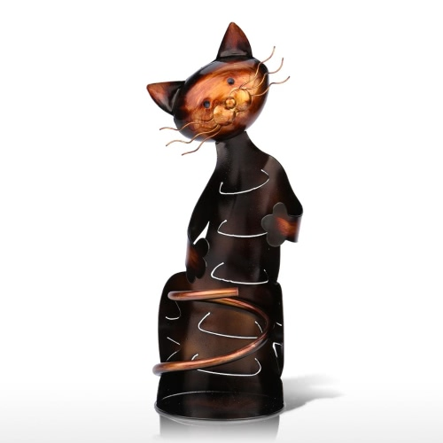 Tooarts Uchwyt na kubek w kształcie kota Szuflada na wino Metalowa rzeźba