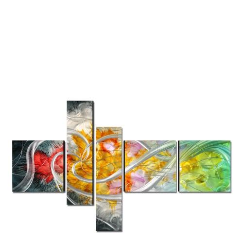 Tooarts La fleur de la vie Peinture moderne Art peint à la main Décoration intérieure 5 panneaux multicolores