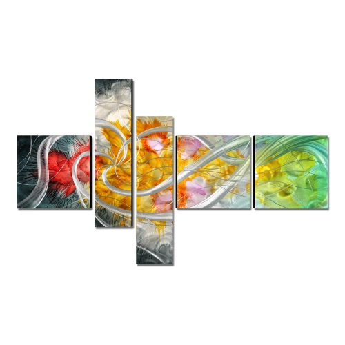 Tooarts La flor de la vida Pintura moderna Pintado a mano Arte de pared Decoración del hogar 5 paneles Multicolor