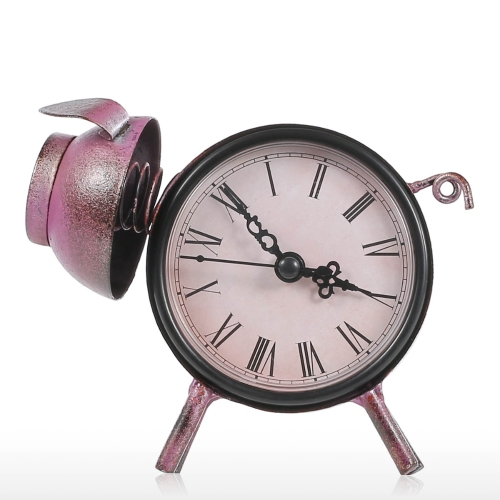 Piggy Clock Handmade Vintage Metal Cat Figurine Mute Table Clock Practical Clock One AA Battery