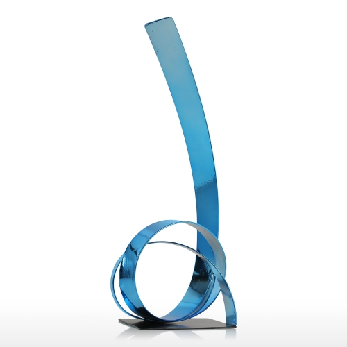 The Rising Ribbon Metalowa rzeźba Iron Modern Sculpture Abstract Sculpture Handicraft Decoration Ornament Blue