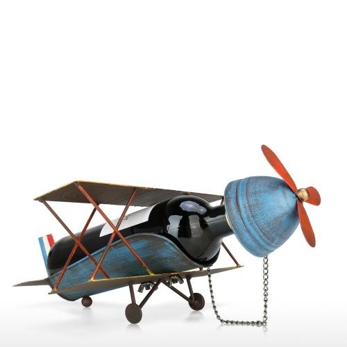 Soporte de vino de avión Soporte de botella de vino de metal Soporte de bebida de mesa Estante de vino decorativo