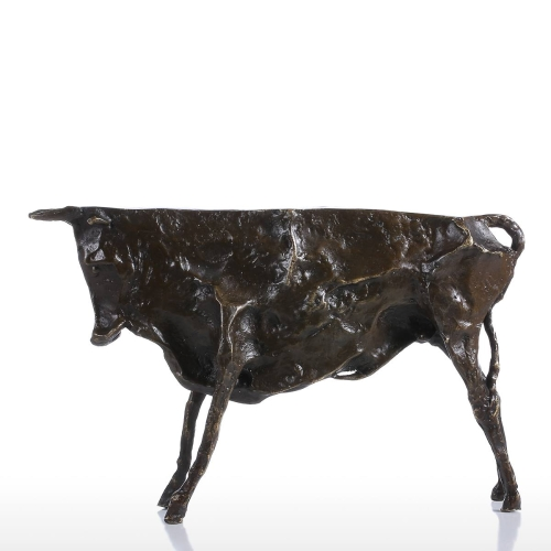 Tooarts Primitive Wild Cattle Bronze Sculpture Home Desal Ornament Delicate