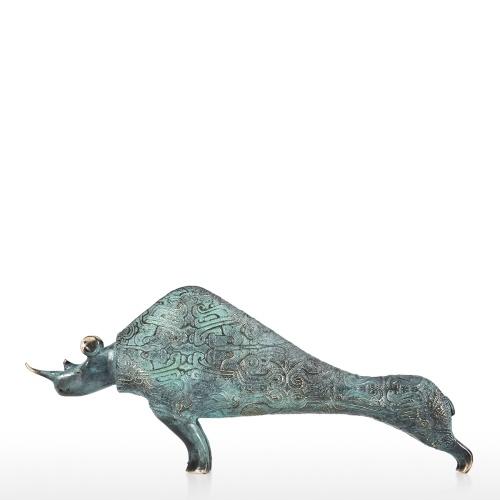 Escultura rinoceronte escultura de bronce hecha a mano decorativo de mesa Rhinoceros regalo ideal para la decoración del hogar