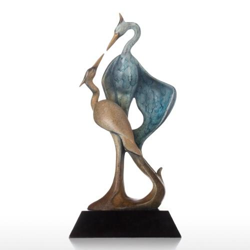 Tooarts doble grúa bronce escultura forma estética animal grúa de cobre