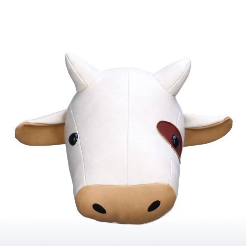 Tooarts| Milk Cow Head Wall Hanging Cartoon Animal Head Wall Decor Room Decoration Microfiber Leather Material Childlike Ornament Cultivate Imagination Special Gift for All Ages