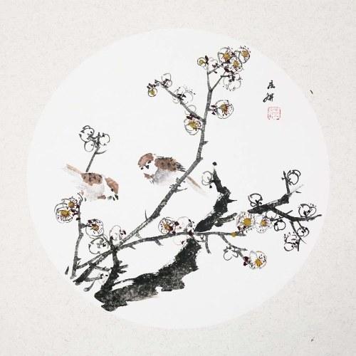 Peinture traditionnelle chinoise de fleurs de prunier et de moineau Wall Art Pictures Peinture Décoration
