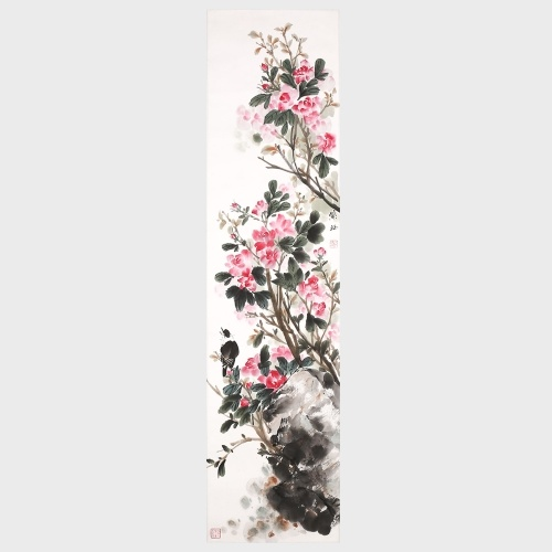 Chinese Rose and Bird Wall Art 100% Handmade Original Artwork Drawing for Home Office Room Decorations