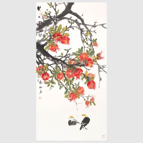 Harvest Season Flowers in Full Blossom with Birds Having Fun Wall Art Modern Home Decor Contemporary Asian Paintings
