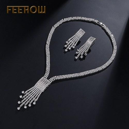 Новые европейские и американские наборы цепочек блестящие роскошные серьги из ожерелья из жемчуга zircon фото