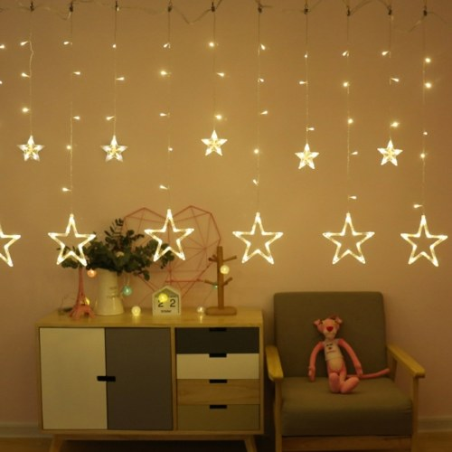 Lampe de rideau pentacle pendentif en forme d'étoile 8 modes de clignotement lumière de chaîne de vacances étanche