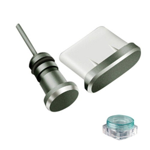 Spina antipolvere per telefono Spina jack per telefono Porta per sim card Porta di ricarica Spina USB per set di polvere per Android / Set nero