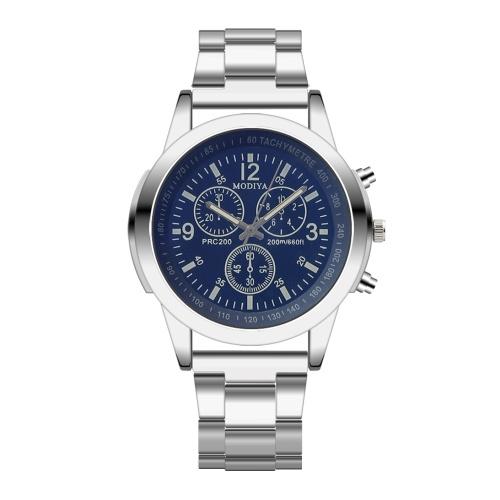 Nuevos hombres de moda reloj de cuarzo Blu-ray gift correa de acero reloj hombres regalos reloj hombres al por mayor de cara negra