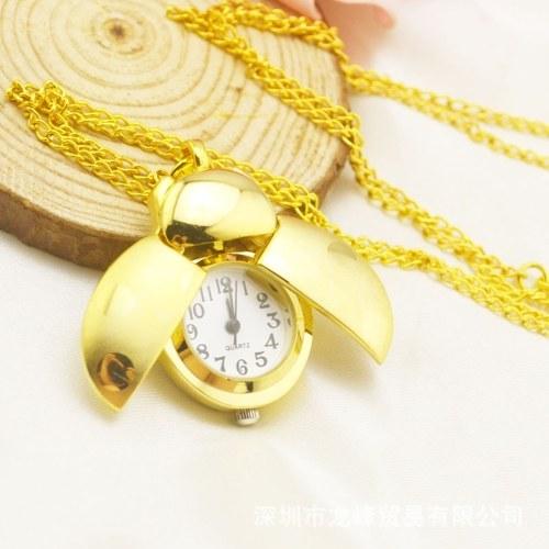 Orologio da taschino con orologio al quarzo color oro coleottero con copertura a catena