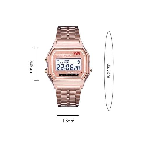Светодиодные цифровые часы в стиле Harajuku Модные стильные многофункциональные наручные часы со стальным ремешком фото