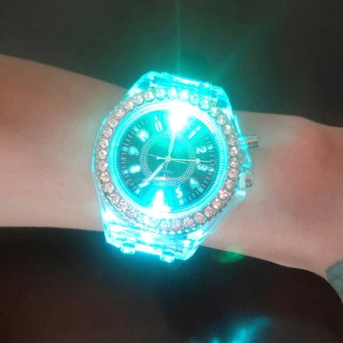 Luminous Coloful Light Watch LED Crystal Bling Couple Watch His-and-hers Watches for Men Women Teens Teen Girls Party with Silicone Strap Band