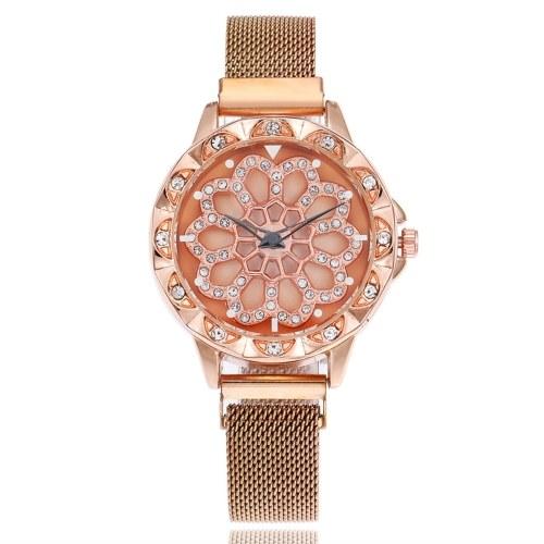 Orologio da donna alla moda in cristallo con quadrante a fiore, quadrante Maganet, orologio da polso con cinturino a maglia intrecciata