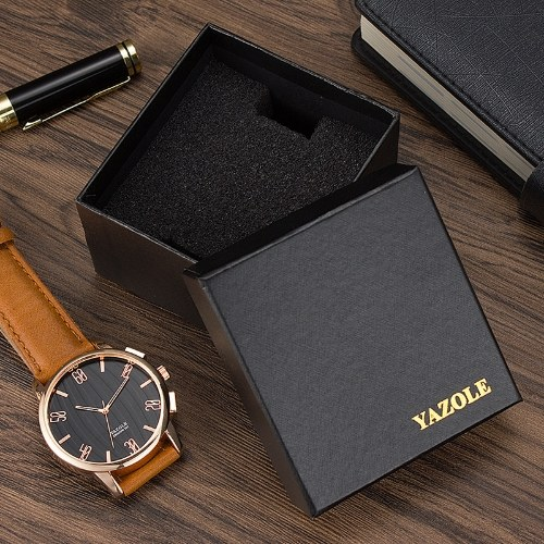YAZOLE Watch Box Gift Box Watches Packaging Boxes Square Black Includes H-Shaped Sponge for Watch Bracelet Jewelry