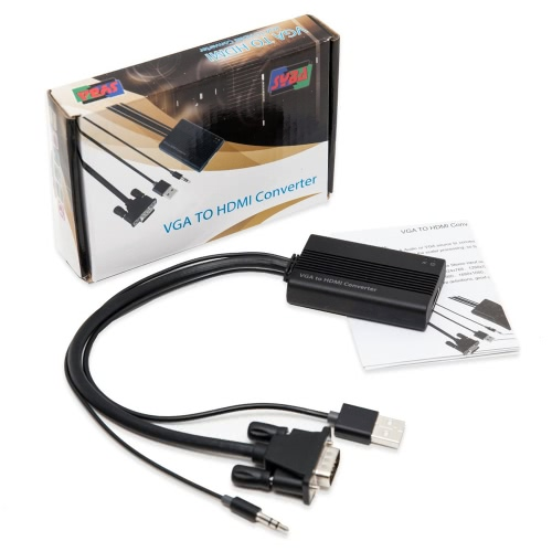 SYBA VGA to HDMI Video & Audio Converter Saída tela do computador, filme e jogo na TV e projetor SD-ADA31040