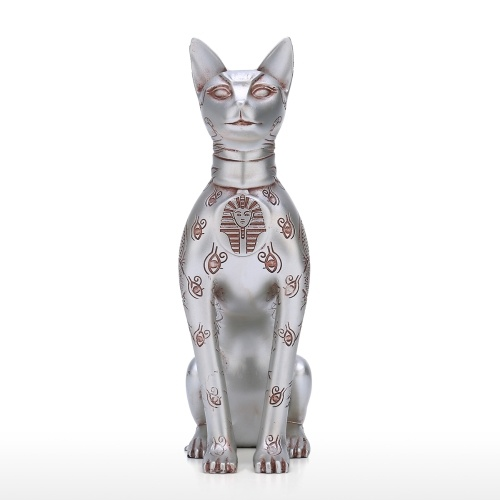 Egypt Sphinx Cat Egyptian Totem Resin Sculpture Originally Designed Cat Decoration Sculpture Desk Decor Collection Value Silvery Cat
