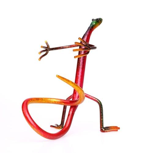 Tooarts Gecko półka do wina półka do wina metalowa rzeźba praktyczna rzeźba dekoracja wnętrz dekoracja wnętrz rękodzieła