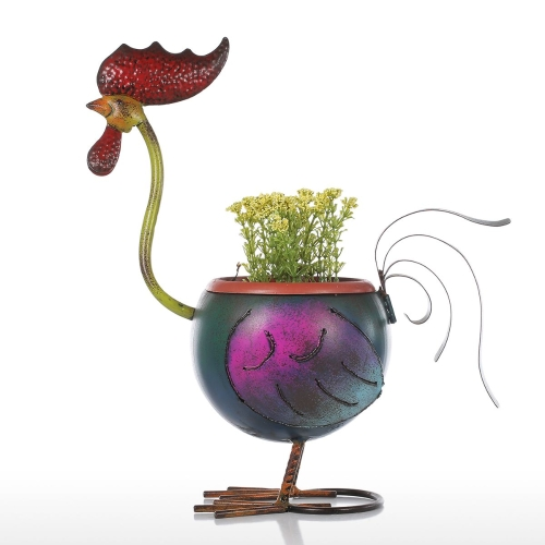Tooarts Rooster Flowerpot Gift Décoration intérieure Metal Multicolor