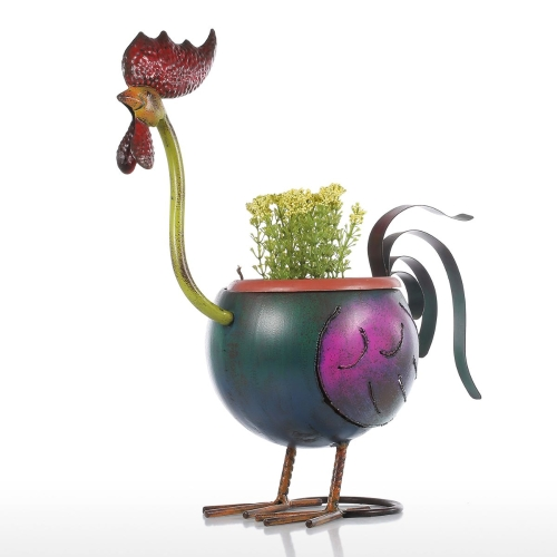 Tooarts Metal Figurine Iron Rooster Home Decor Articles: Best And Cheap Multicolored Tooarts Rooster Flowerpot Gift