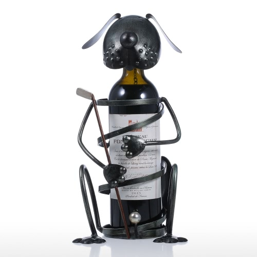 Puppy Wine Rack with Golf Iron Animal Figurine Creative Wine Holder Practical Ornament Craft Gift