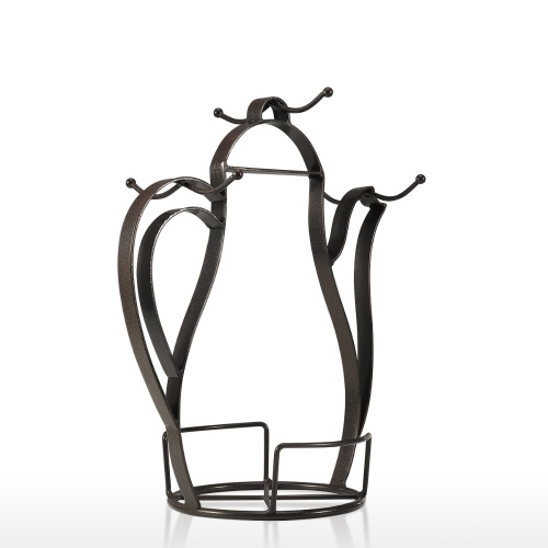Kettle-shaped Coffee Mug Tree Holder Countertop Or Pantry Vintage Metal Wire Tree Stand for Coffee Glasses and Cups