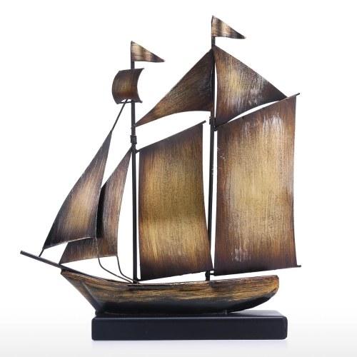 Tooarts Antikes Segelboot Ornament Eisen Kunst Dekor Retro Textur Handwerk Heimtextilien Perfektes Geschenk für Segler